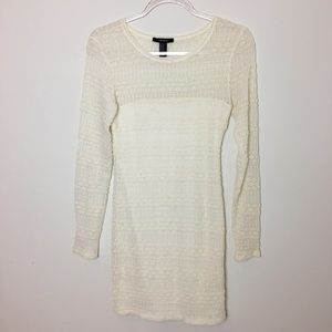 Forever 21 Cream lace long sleeve lined dress Sz M